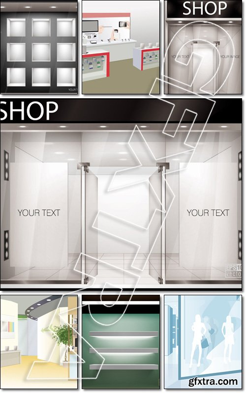 Shop with glass windows and doors, front view - Vector