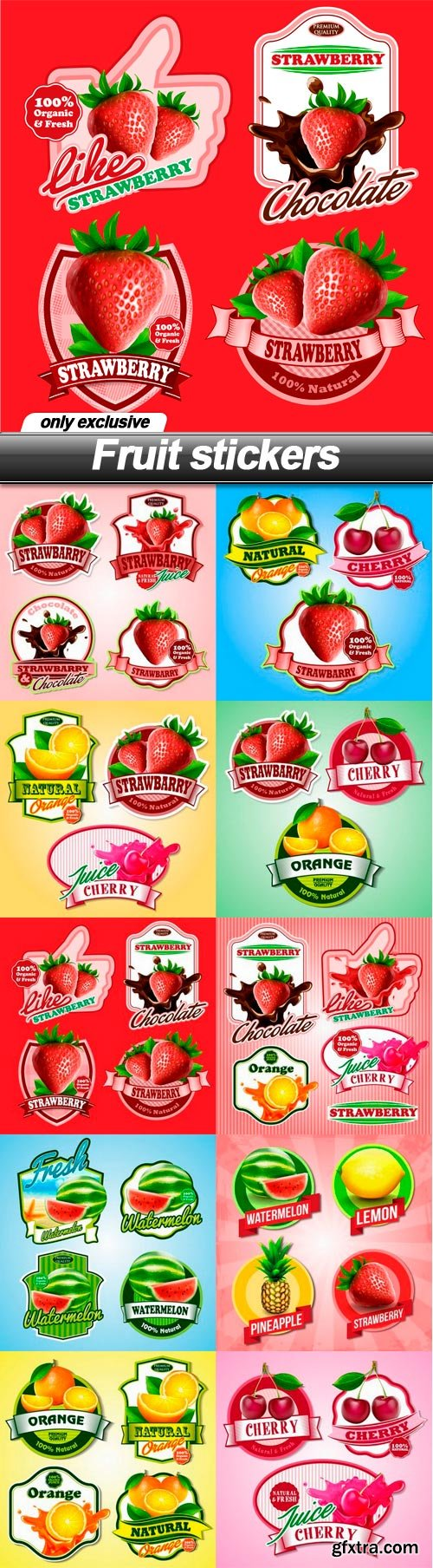 Fruit stickers - 10 EPS