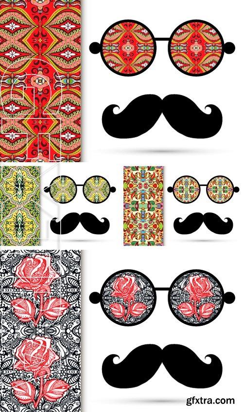 Stock Vectors - Retro hipster sunglasses. Vector illustration with ornamental glasses ,on white background