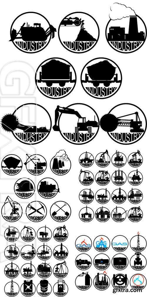 Stock Vectors - Icons coal mining industry. The illustration on a white background
