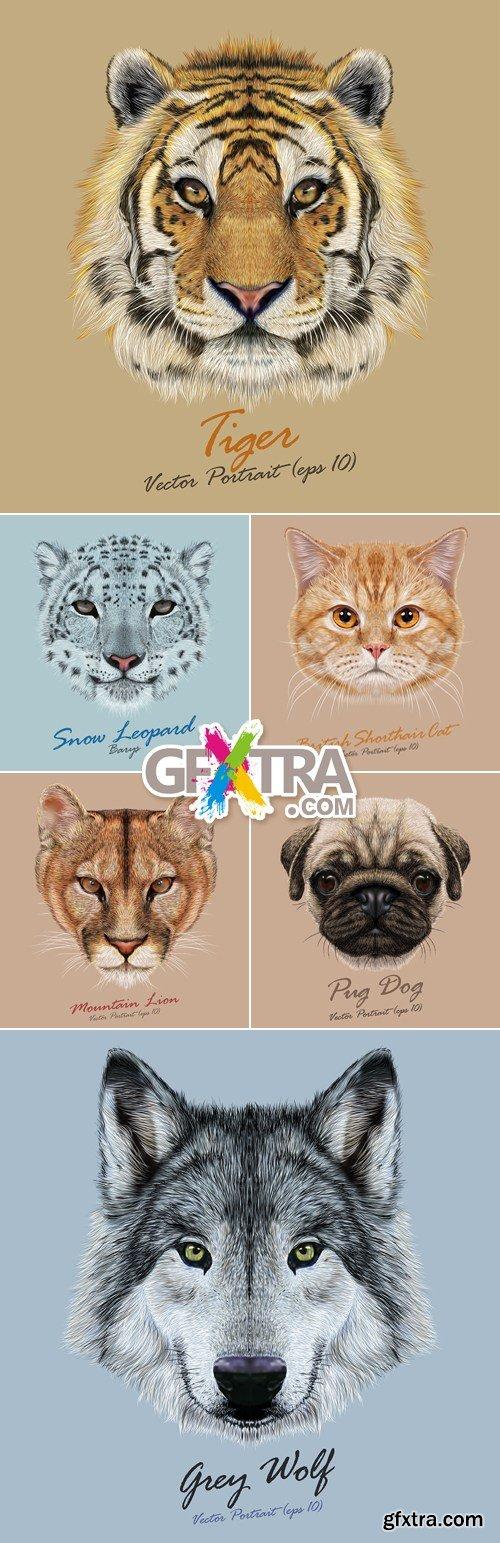 Animals Portraits Vector