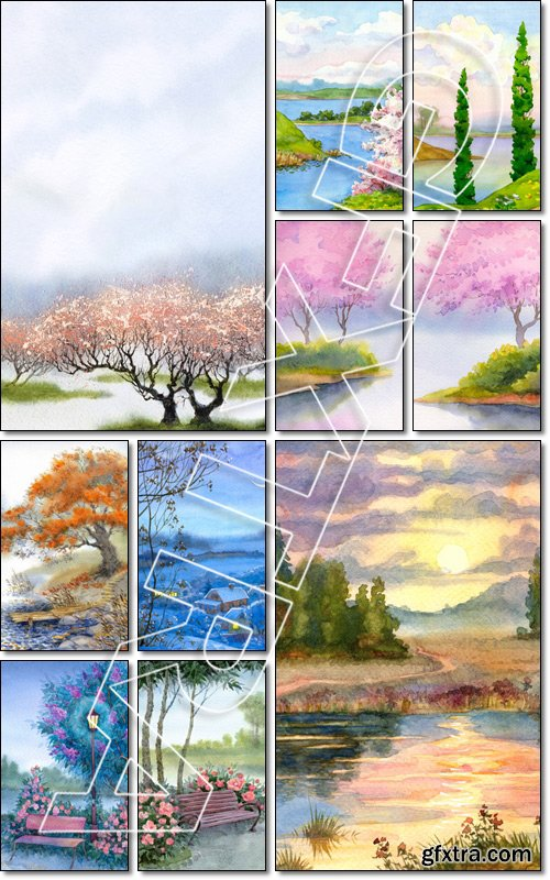 Watercolor landscape background. Delicate flowering trees near the river on a misty cool spring day - Stock photo