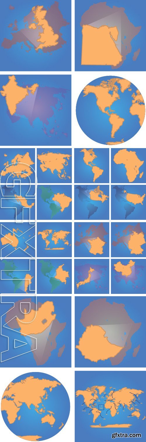 Stock Vectors - Set of blue backgrounds with different world maps. Vector illustration