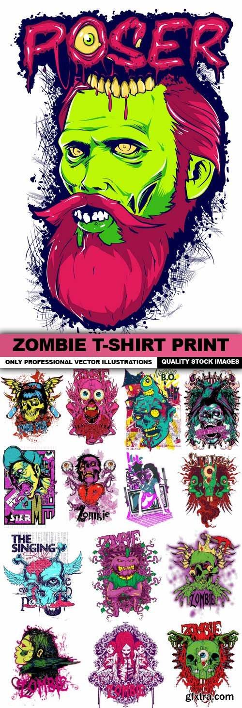 Zombie T-Shirt Print - 15 Vector