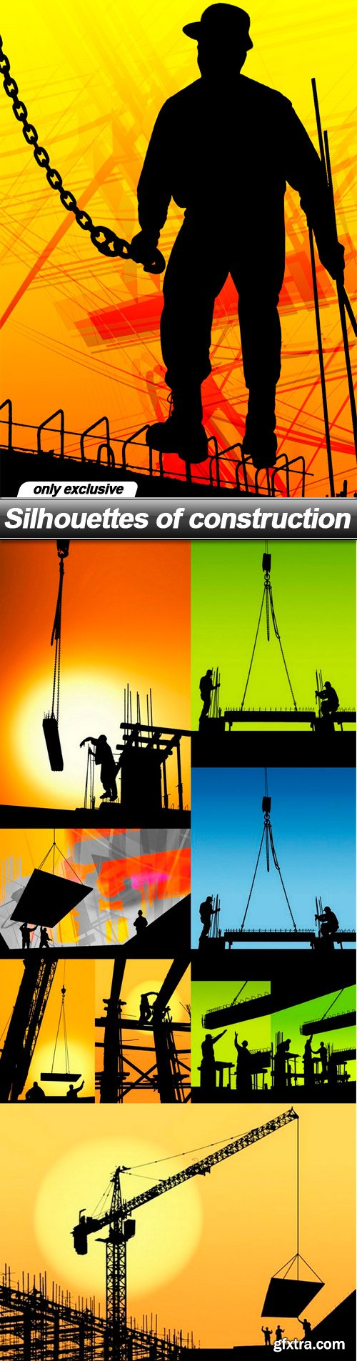 Silhouettes of construction - 10 UHQ JPEG