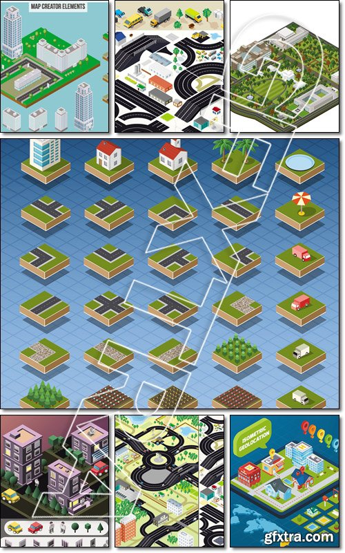 Set of Isolated Quality Isometric City Elements - Vector
