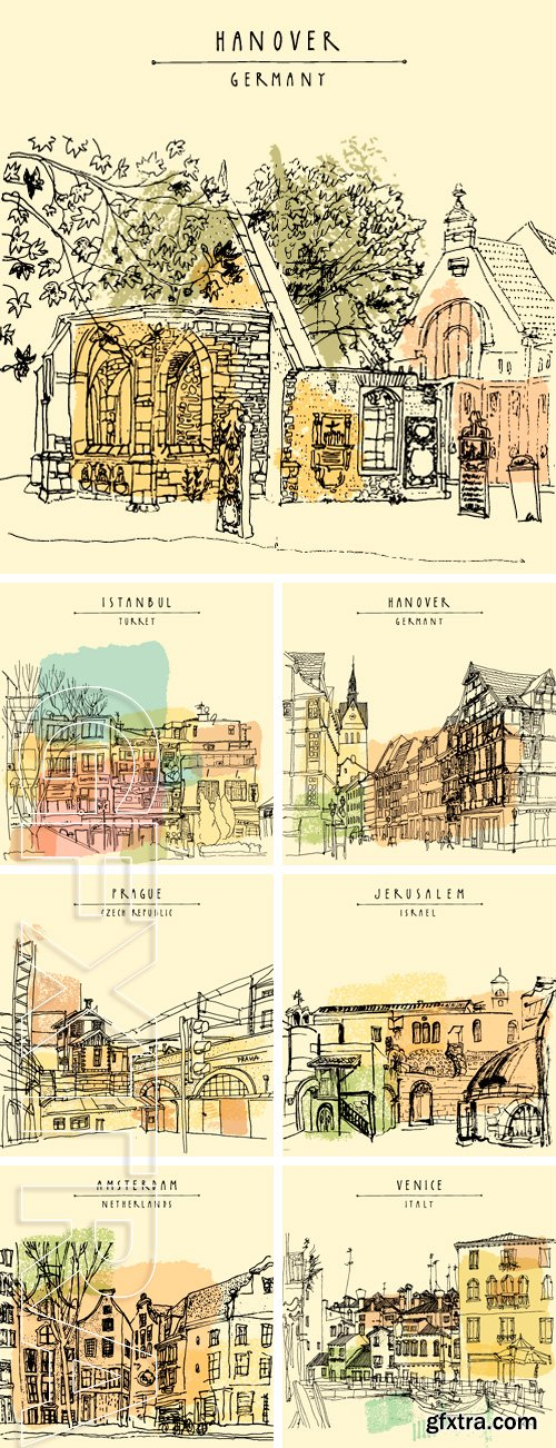 Stock Vectors - Vector illustration of old houses. Historical building line art. Freehand drawing with liner pen on paper. Sketchy grungy postcard template