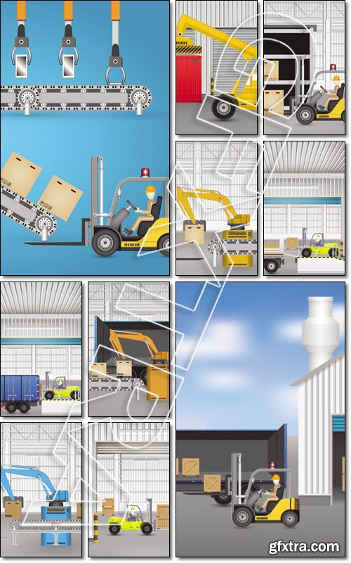 Forklift working with wood crate inside factory - Vector