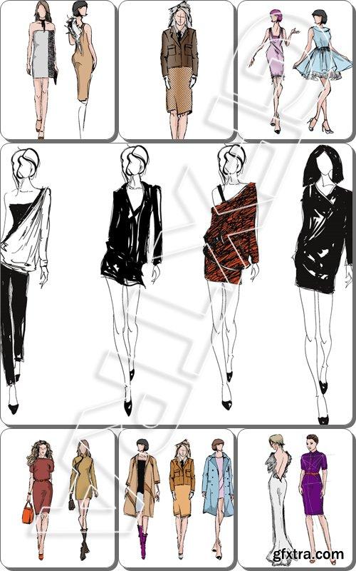 SKETCH. fashion girls - Vector