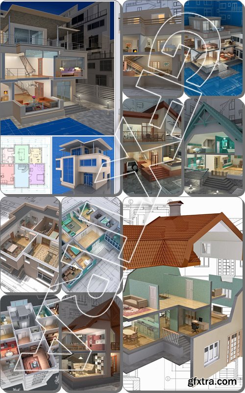 3D isometric view of the cut residential house on architect drawing. Image with clipping path - Stock photo