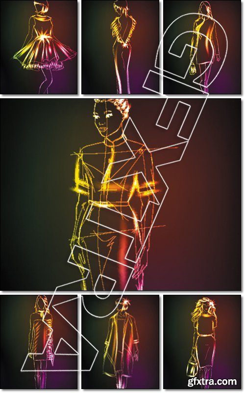 Hand-drawn fashion model from a neon. A light girl's - Vector