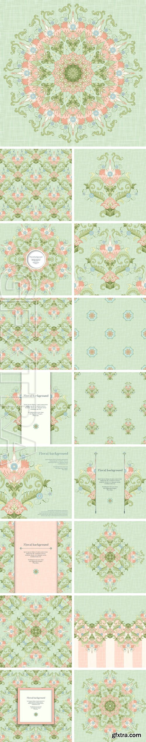Stock Vectors - Vector seamless background. Beautiful floral pattern in vintage style and and delicate canvas texture