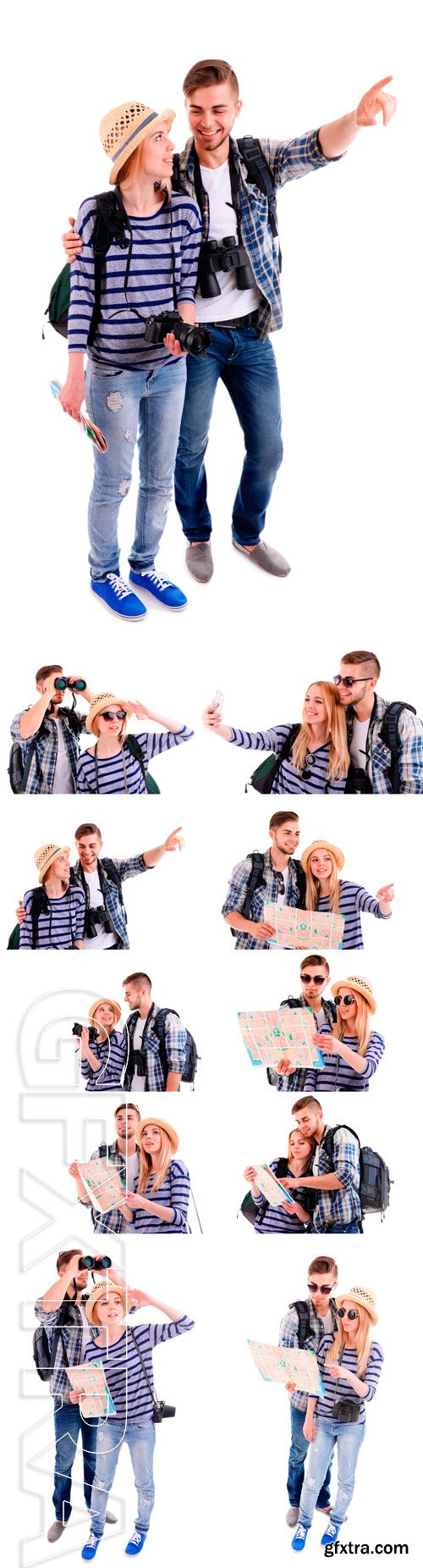 Stock Photos - Pair of travelers with camera isolated on white