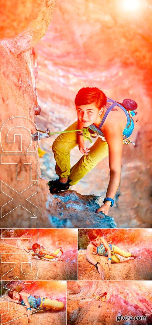 Stock Photos - Female rock climber climbs on a rocky wall. Turkey, Geyikbayiri, Sarkit sector