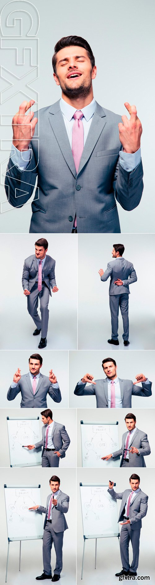 Stock Photos - Handsome businessman over gray background