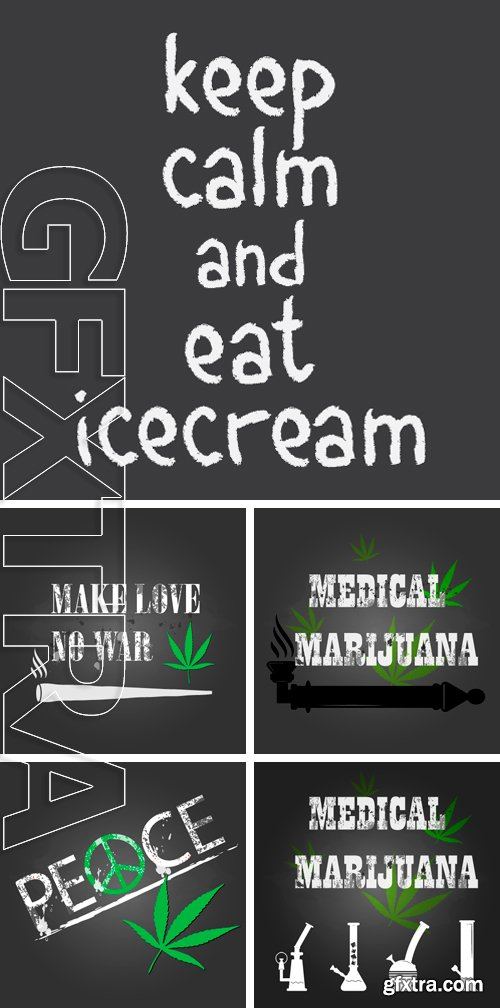 Stock Vectors - Vector medical marijuana sign and bong icon on chalkboard
