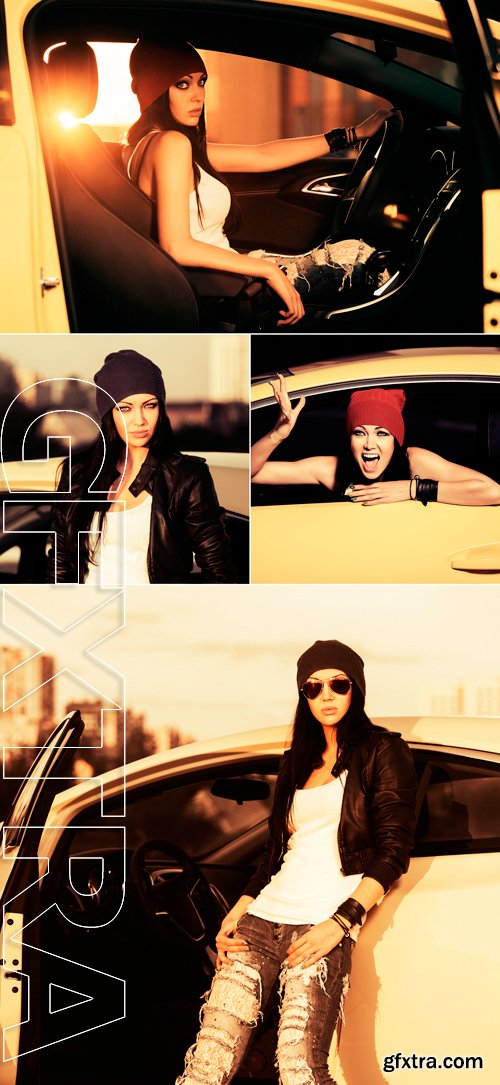 Stock Photos - Young fashion woman in leather jacket by her car