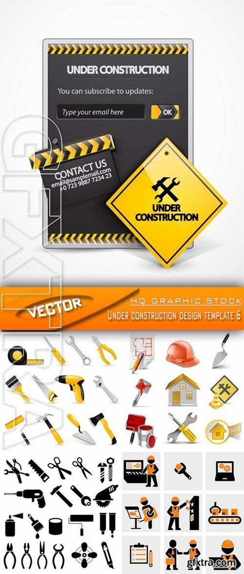 Stock Vector - Under construction design template 6