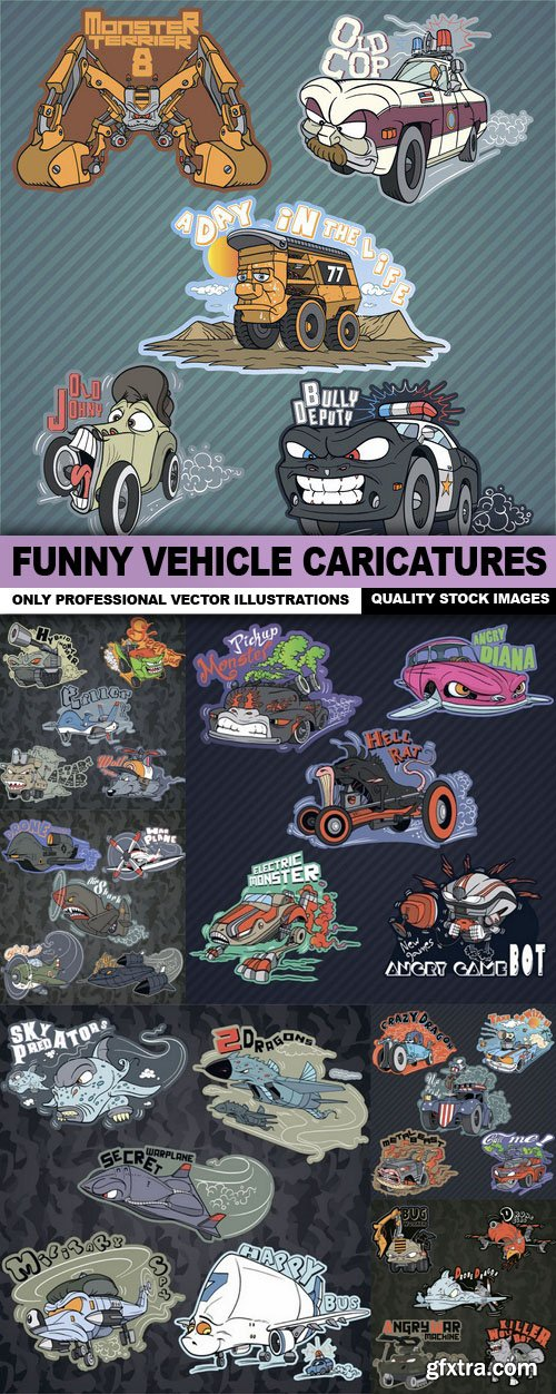 Funny Vehicle Caricatures - 7 Vector