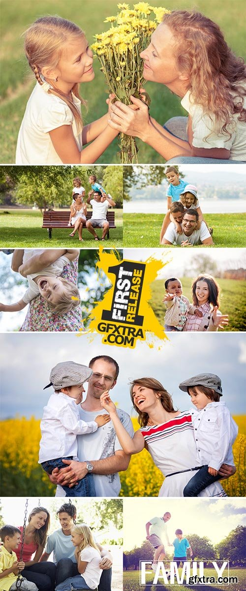 Stock Photos Young family having fun in a park together