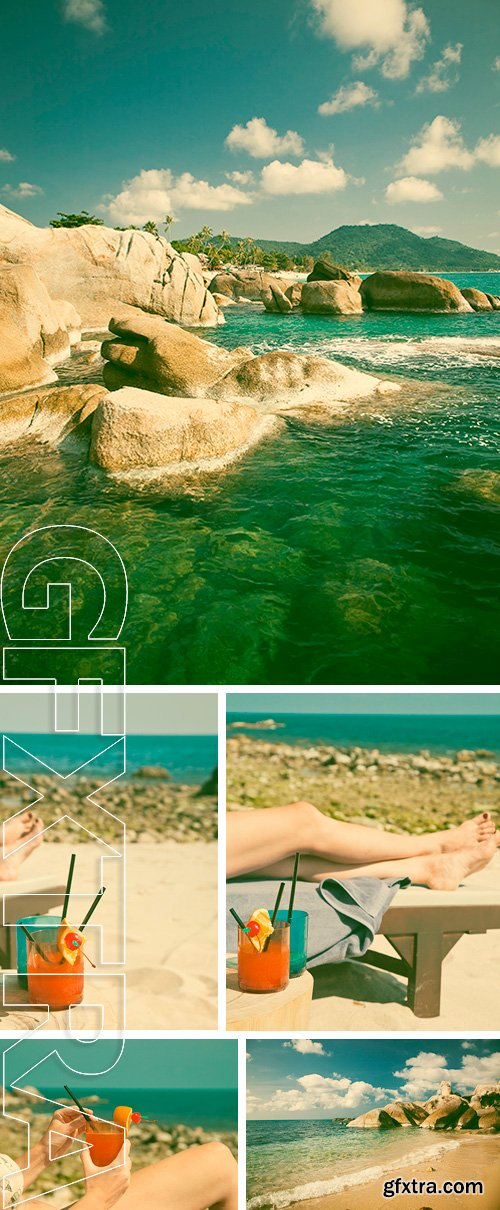 Stock Photos - Beautiful turquoise water and interesting rock formation on Lamai beach, Ko Samui, Thailand - retro style postcard
