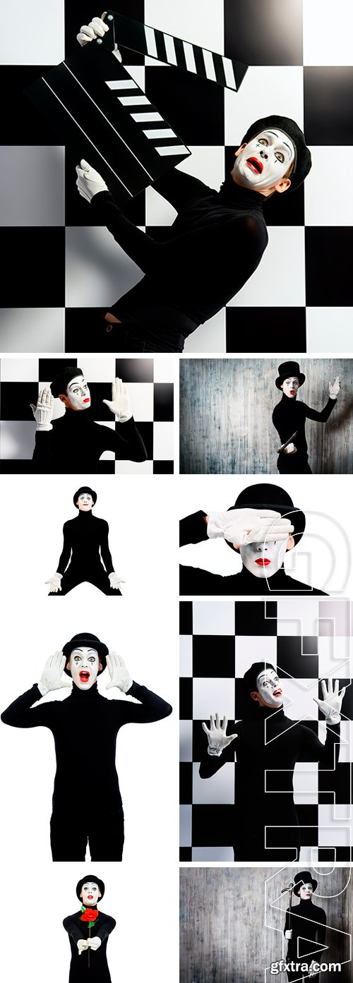 Stock Photos - Portrait of a male mime artist. Professional mime artist performing different emotions
