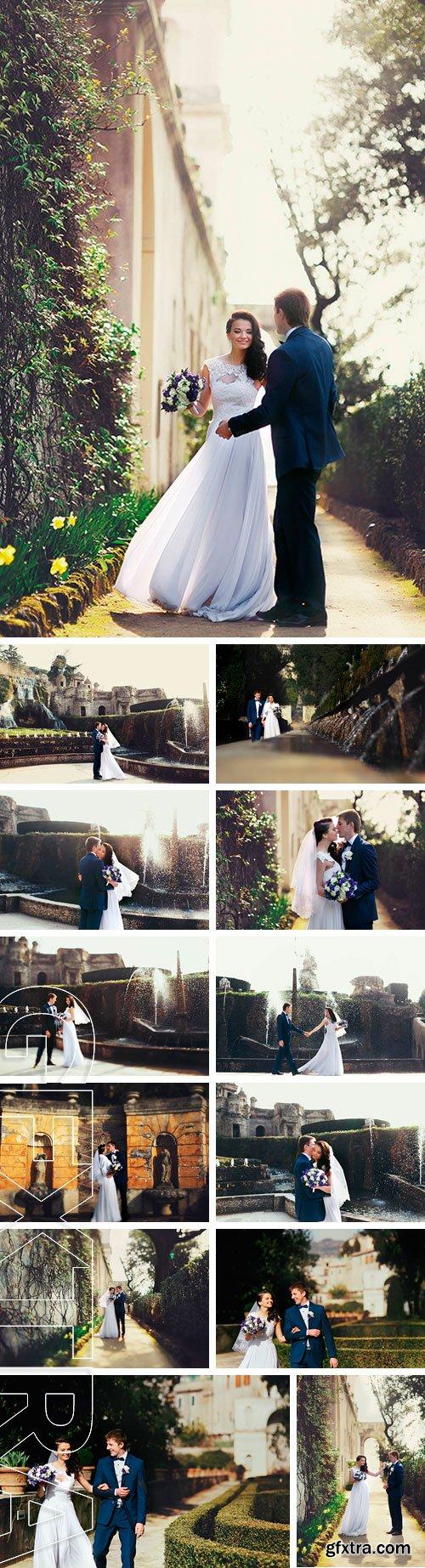 Stock Photos - Romantic young stylish italian newlyweds