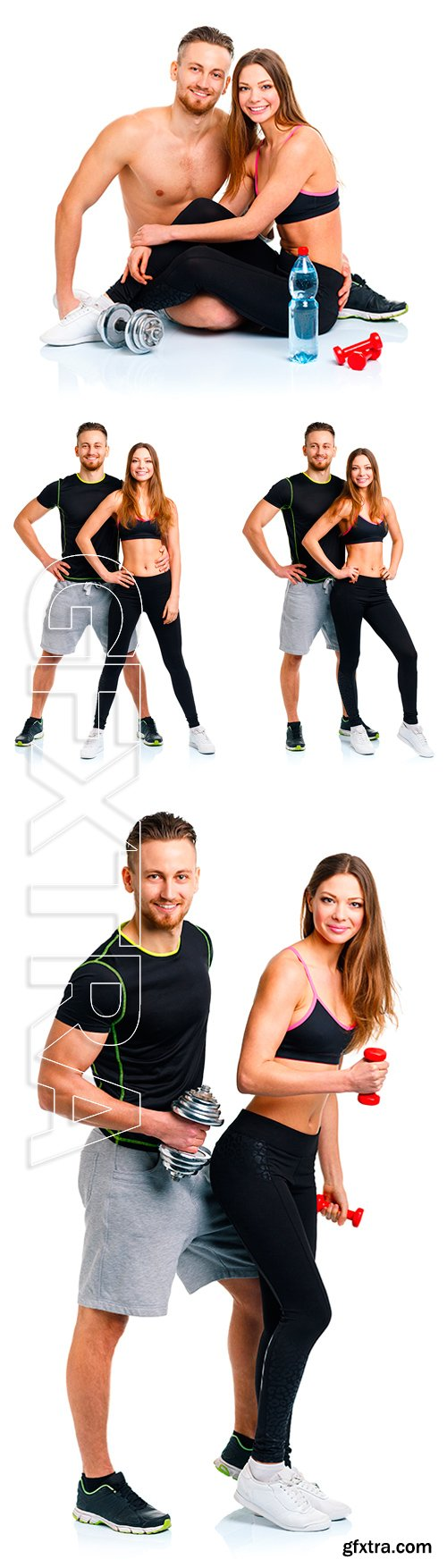 Stock Photos - Sport couple - man and woman with dumbbells on the white background.