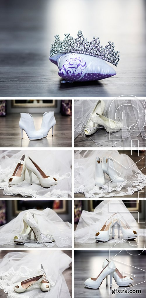 Stock Photos - White wedding shoes with accessories