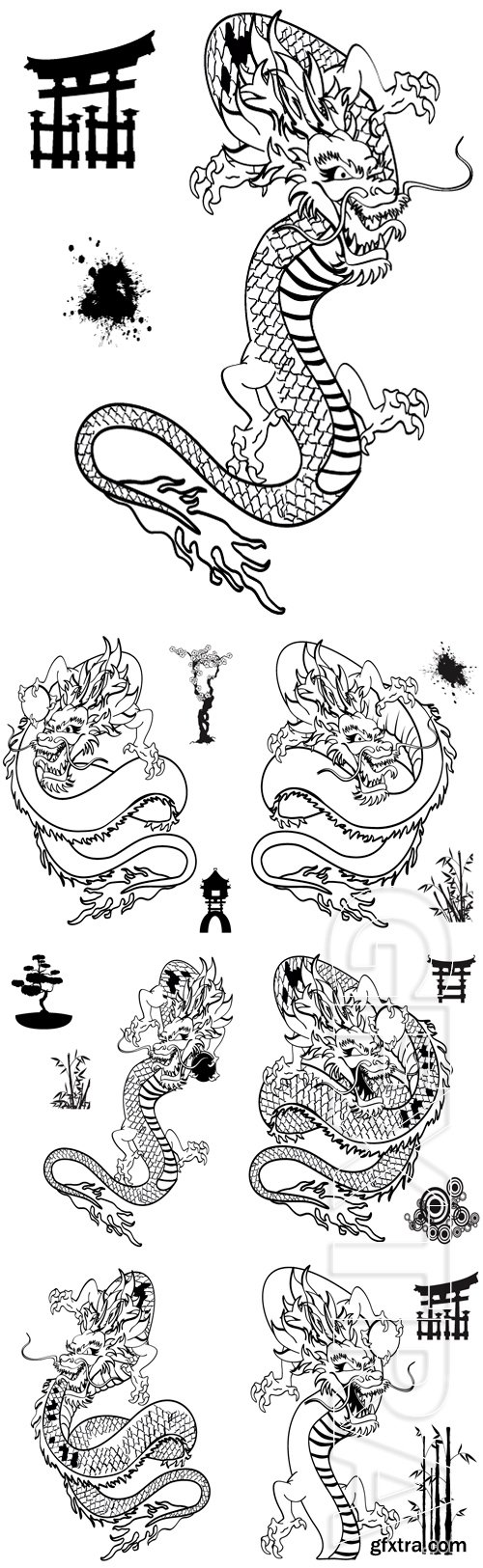 Stock Vectors - Japanese dragon tattoo in vector format very easy to edit