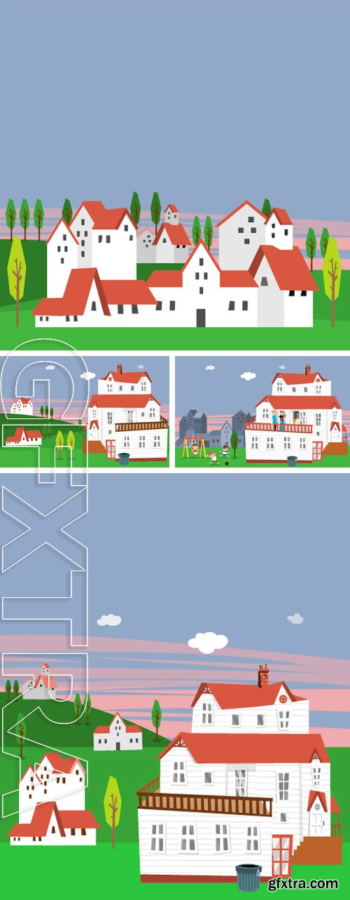 Stock Vectors - Modern flat vector illustration featuring the happy house with a family