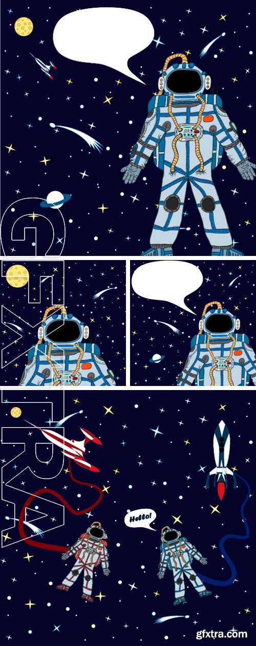 Stock Vectors - Vector drawing of an astronaut in space. Vector drawing