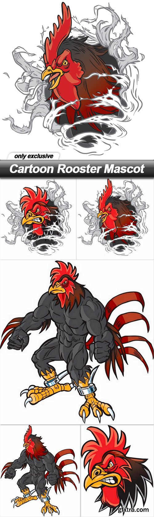 Cartoon Rooster Mascot - 5 EPS