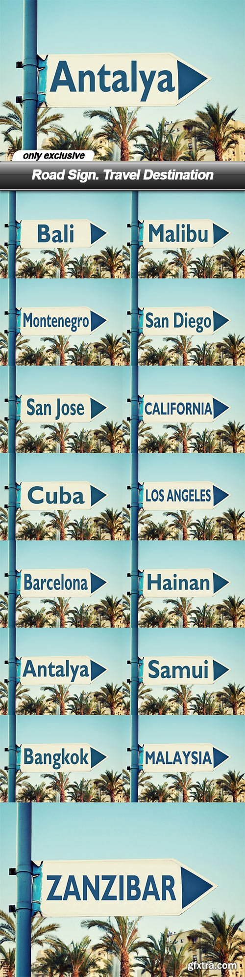 Road Sign. Travel Destination - 15 UHQ JPEG