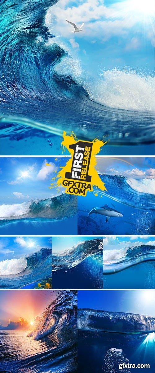 Stock Photos Ocean-view seascape landscape breaking surfing ocean wave