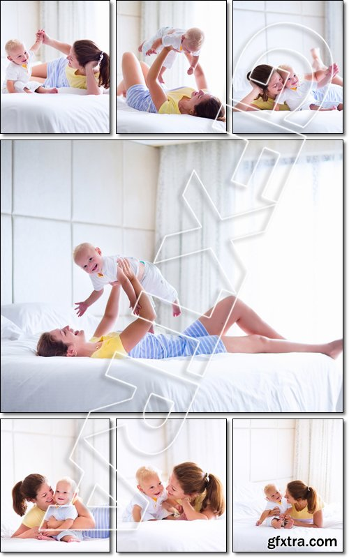 Mother and baby in bed. Young mom playing with her newborn son. Child and parent together at home. Family with kids in the morning - Stock photo