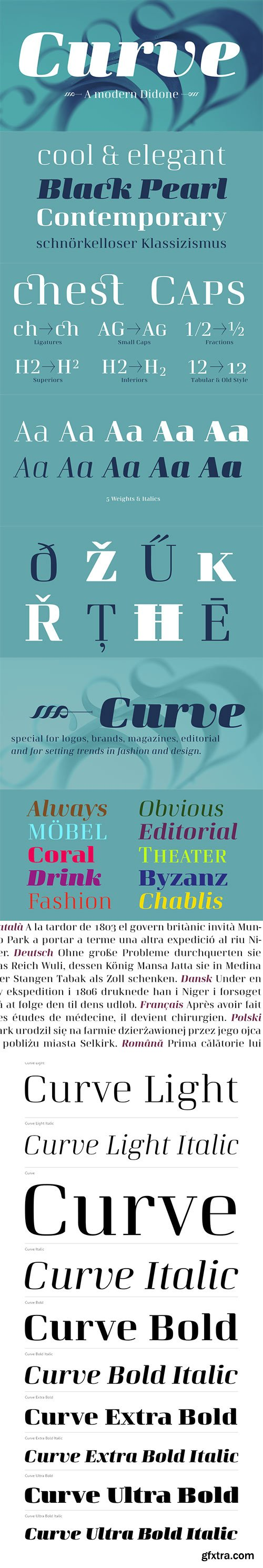 Curve - Modern Neo-Classical Typeface 10xOTF $205