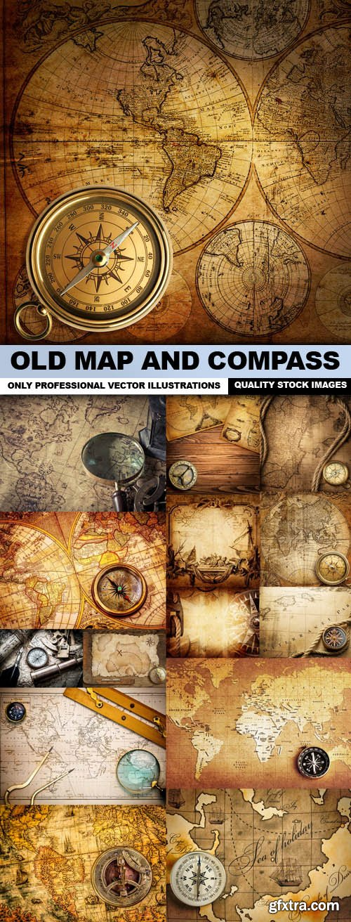 Old Map And Compass - 15 HQ Images