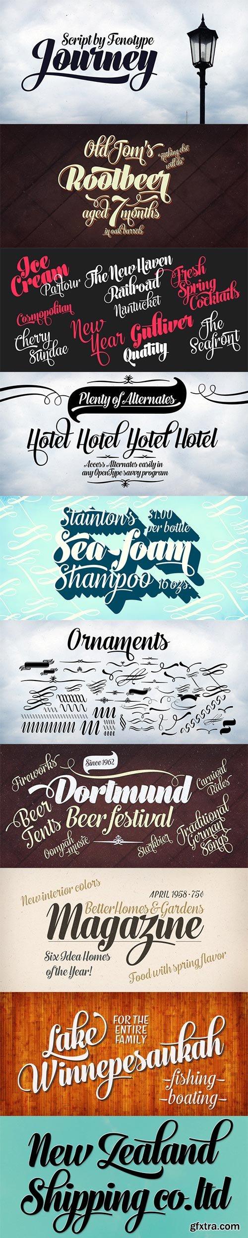 Journey - Smooth & Elegant Vintage Script Family 5xOTF $60