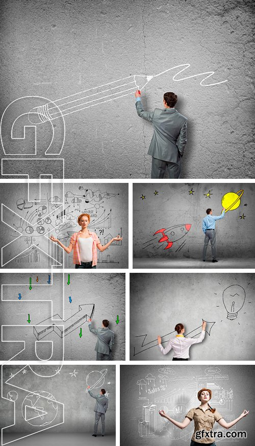 Stock Photos - Businessman drawing sketches on wall