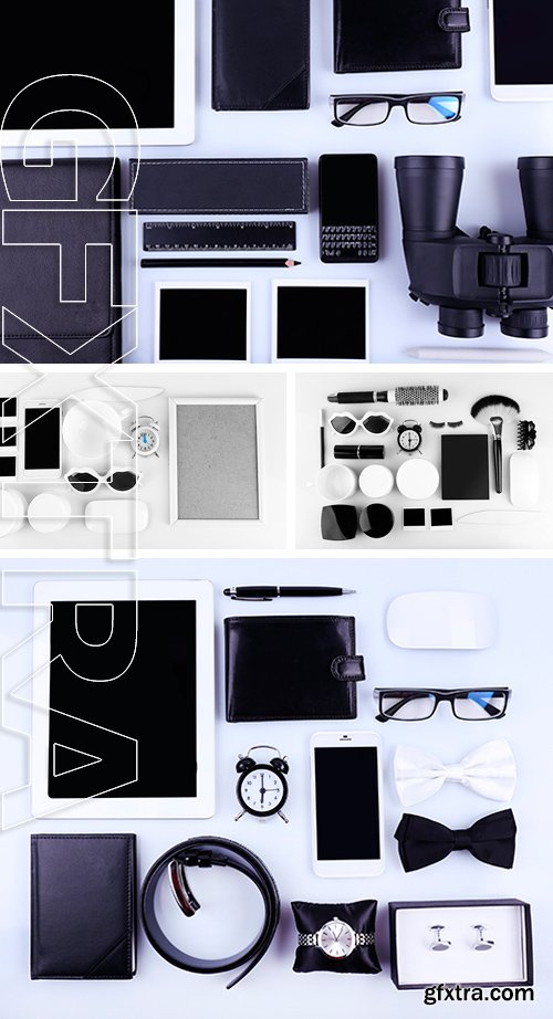 Stock Photos - Essentials fashion man and woman objects on light background