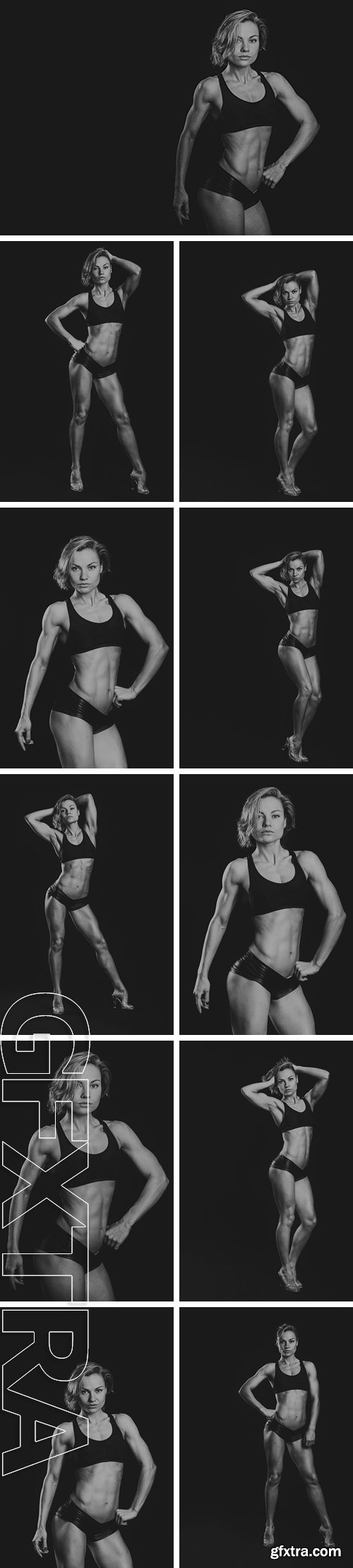 Stock Photos - Strong, sexy blonde with a perfect body. Female fitness bodybuilding
