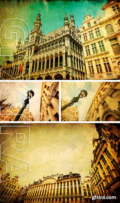 Stock Photos - Vintage style picture of the Grand Place
