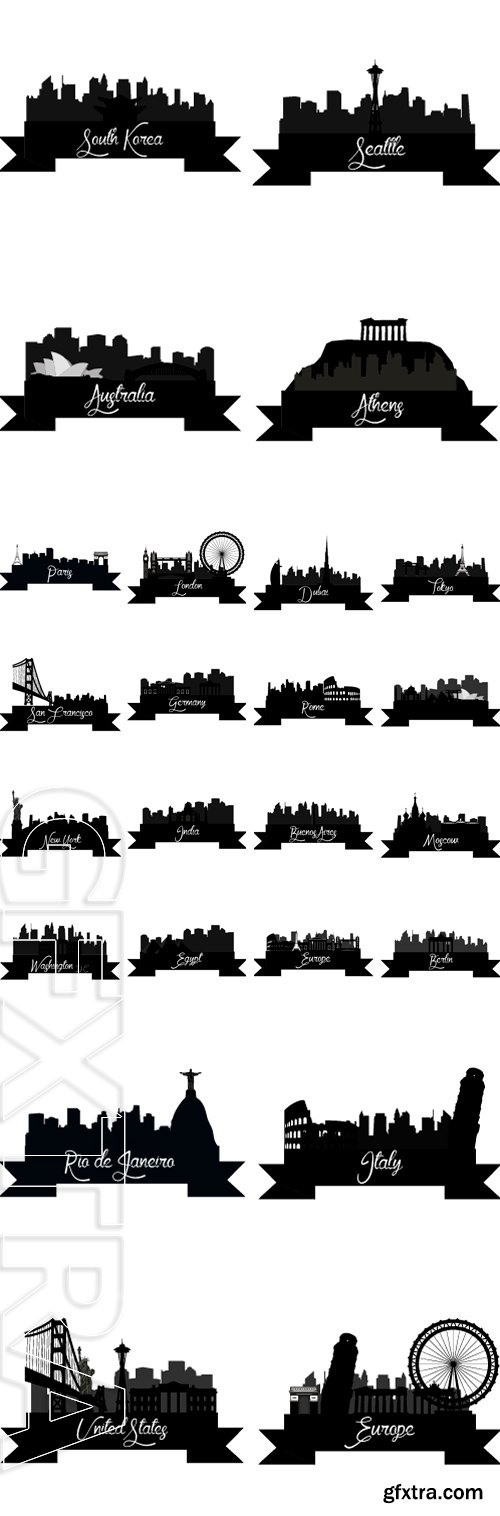 Stock Vectors - Set of skylines with monuments on a white background. Vector illustration
