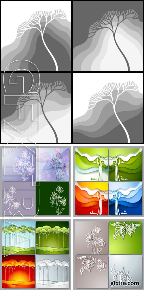 Stock Vectors - Set of Vector backgrounds with white drawn flowers