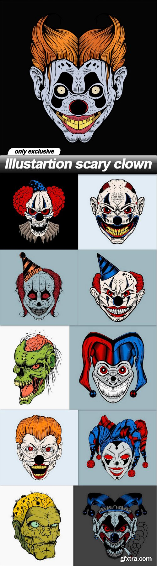 Illustartion scary clown - 11 EPS