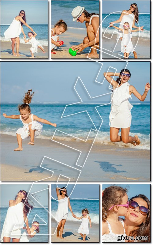 Mother and daughter playing on the beach at the day time. Concept of friendly family - Stock photo