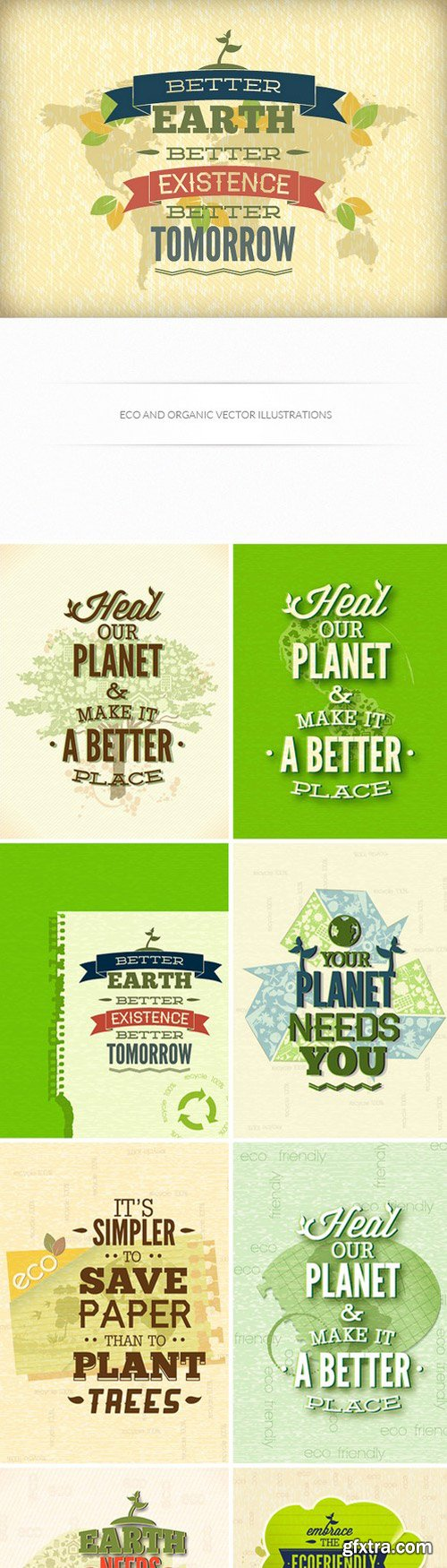 Eco And Organic Vector Illustrations