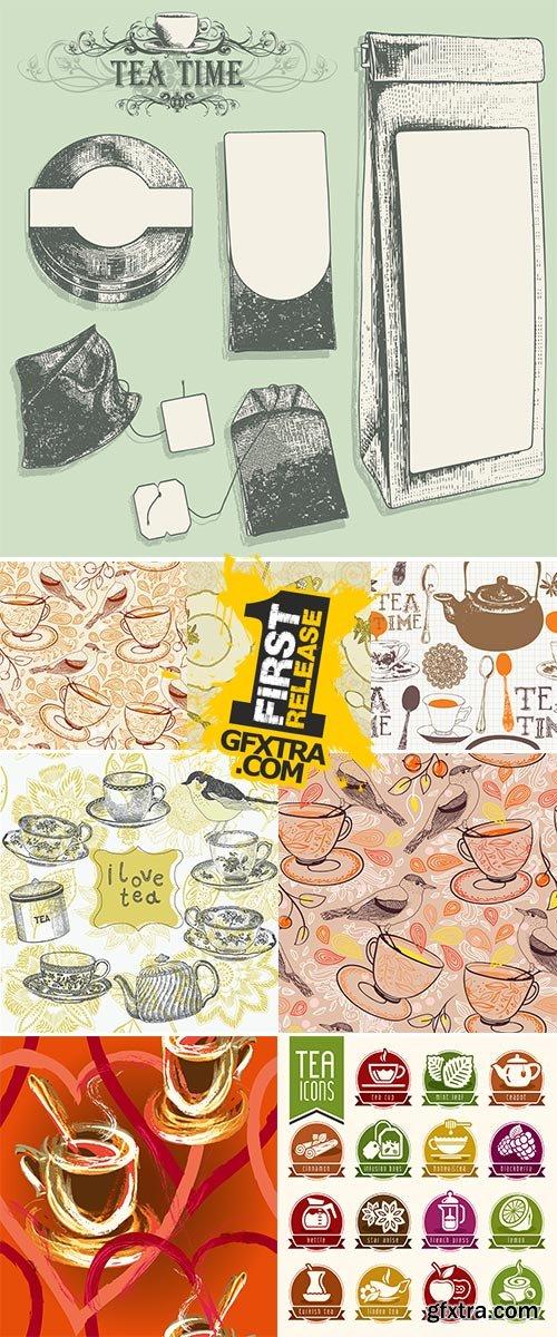 Stock Elegant set of tea design elements Vectors