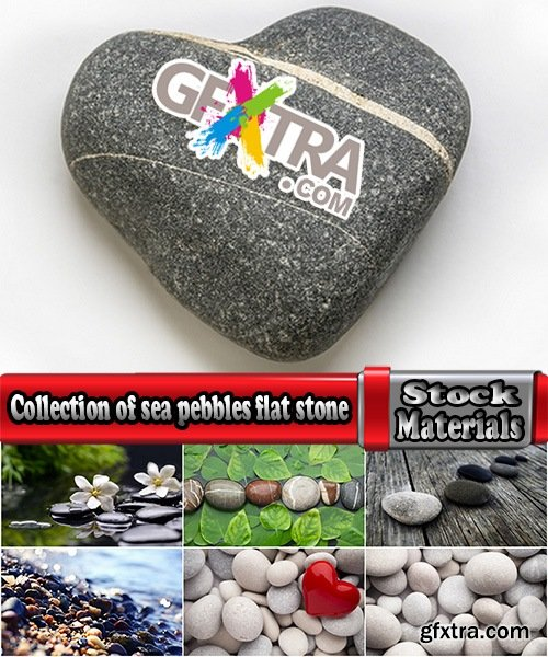 Collection of sea pebbles flat stone black stone decorative landscape 25 HQ Jpeg